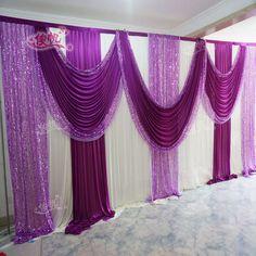 Boda de lujo telón de fondo con hermosa de la boda del Swag cortina cortina y decoración de la boda