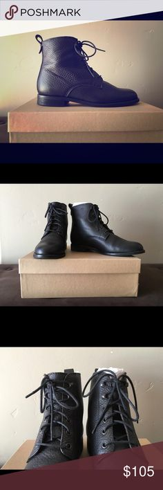 LIKE NEW Madewell Lace-up Hayden Boots in Black Madewell The Hayden Lace Up Black Boot Size 7.5 Pre owned in excellent condition no scratches, worn 2 times Made of rich textured, butter soft leather Comes in the original box Goes well with sweater dress or denim in the fall/winter weather Leather lining Madewell Shoes Lace Up Boots