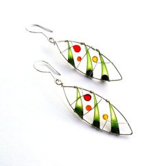 Colorful leaf earrings - Wire wrapped and Resin earrings