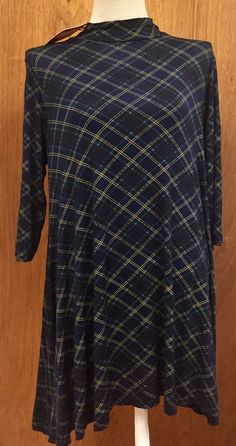 """Plaid High neck Swing dress. Navy Blue green and Gold checked Print. Measures approximately 21"""" measuring across chest under arms. Measures approximately 35"""" in total length 