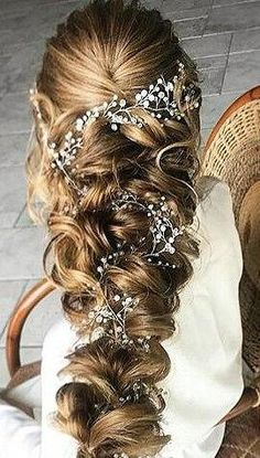 Crystal and Pearl hair vine Babys breath hair piece Wedding