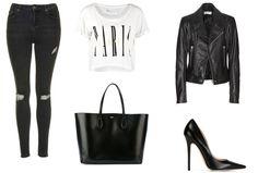 trousers - Top Shop t-shirt - Even&Odd bag - Rochas shoes - Jimmy Choo jacket - Balenciaga