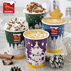 Insomnia's Christmas Hot Drinks: Hazelnut Hot Chocolate, Red Velvet Hot Chocolate, Gingerbread Latte, Salted Caramel Latte! Gingerbread Latte, Caramel Latte, Insomnia, Hot Chocolate, Red Velvet, Product Launch, Drinks, Tableware, Christmas