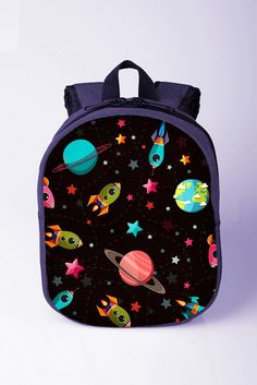 634b053aba Universe print backpack Space backpack Planets backpack Toddler boy backpack  Kids bags for school Preschool backpack Blue backpack