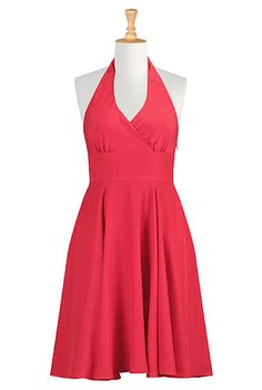 Halter neck A-line dress from eShakti Blue Dresses, Casual Dresses, Dresses For Work, Vintage Style Dresses, Custom Dresses, Women's Fashion Dresses, Green Dress, Dress Skirt, Clothes For Women
