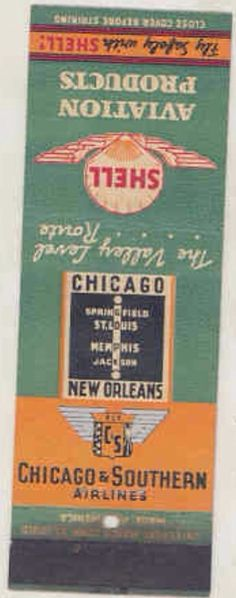 Chicago and Southern 1944 #matchbook To design & order your business' own advertising #matches GoTo GetMatches.com