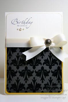 Von der Bastlerin eigentlich als Geburtstagskarte gedacht. Aber ich finde den Stil und die elegante Farbgebung so schön, daß ich daraus mal eine Trauerkarte versuchen möchte.