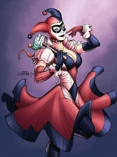 Classic Harley in a dress with Joker scepter by Terry Dodson. Comic Manga, Comic Art, Comic Book Characters, Comic Character, Batgirl, Catwoman, Geeks, Dibujos Pin Up, Dc Comics