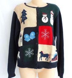 Dress Barn Christmas Holiday Sweater Cardigan Button Down Ugly Snowmen Trees Med #dressbarn #Cardigan