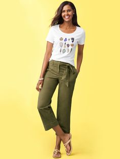 We're currently loving the wide-leg crop trend. Pair the lightweight and breezy pant with a tee for a casual-chic summer look.