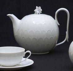 Josef Hoffman (1870-1956), Austrian / Atlantis Tea Service teapot with scallop pattern bands circling body, flower knob, designed c. 1920, porcelain, produced by Augarten Wien, Vienna, Austria / Neue Galerie Design Shop, NYC, USA