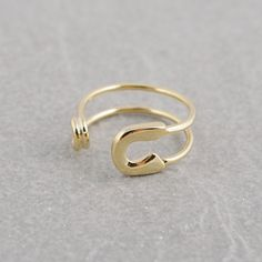 Safety Pin Ring in Gold by bkandjio on Etsy, $15.00