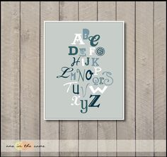 Alphabet Prints - perfect for nursery for your little boy or girl - grey blue - 8x10 babies