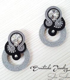Silver Earrings Clip On Silver Wedding Jewelry, Silver Jewellery Indian, Silver Ring, Silver Earrings, Swarovski, Soutache Earrings, Handmade Necklaces, Jewelry Sets, Instagram