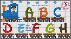 Alphabet train, upper case, A-H with engine, driver & smoke Cross Stitch Letters, Cross Stitch Baby, Cross Stitch Charts, Cross Stitch Embroidery, Bead Loom Patterns, Perler Patterns, Stitch Patterns, Crochet Alphabet, Baby Patterns