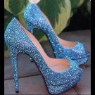new arrive sexy lady blue rhinestone crystal platform high heels wedding shoes peep toe pumps for women(China (Mainland)) Bling Heels, Sparkly Pumps, Sparkle Heels, Prom Heels, Sexy Heels, Bling Bling, Glitter Pumps, Christian Louboutin Heels, Louboutin Shoes