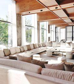 Ethereal mornings via mwalterdesign Living Room Interior, Living Rooms, Hotel Interiors, Ethereal, Mornings, Restaurant, Couch, Samba, Space