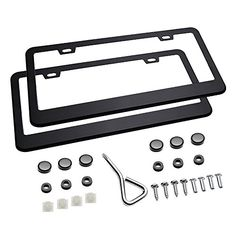 "Ohuhu Matte Aluminum License Plate Frame with Chrome Screw Caps, 2Pcs 2 Holes Black License Plate Frames, Car License Plate Covers For US Vehicles - Dress up your license plate and give your truck the consistent upgraded style with this Ohuhu License Plate Frame. Specifications: -Frame material: Aluminum -Frame size: 6-3/8"" x 12-1/4"" Package Content: -2 x License Plate Frame - 6 x Plastic screw caps - 4 x Machine screws - 4 x Self-tapping scr..."