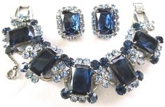 JULIANA Beautiful Blue Rhinestone Bracelet Earring Set