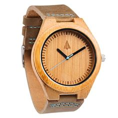 Boyd Blue   This wooden Tree Hut watch has genuine brown leather bands and is handmade in San Francisco from real wood with a blue minute hand.