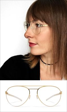 The MYKITA | Wulf Eyeglasses in Glossy Gold features an aviator shape made out of light-weight stainless steel. A great style for both men and women and is available in 4 colors.