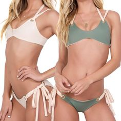 "Shop your out  @revovle has your favorite restocked ""Runaway"" top and ""Destination"" bottom in army green/bone #KOAswim"
