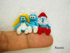 Smurf Family - Micro Crochet Miniature Smurfs Blue Buddies Set of Three Les Schtroumpfs - Made To Order. $205.00, via Etsy.
