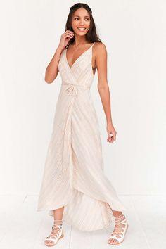 Kimchi Blue Thistle Sparkle Stripe Wrap Maxi Dress Sexy White Dress 2e9a6981a28