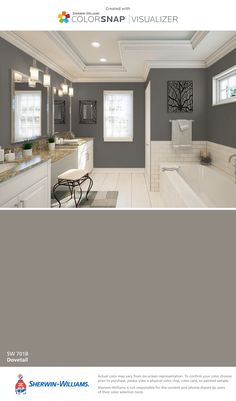I found this color with ColorSnap® Visualizer for iPhone by Sherwin-Williams: Dovetail (SW 7018).