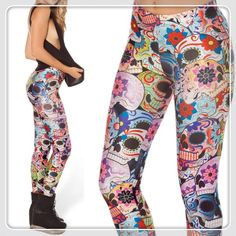 Adventure Time New Spring 2014 Fitness Women Space Print DAY OF THE DEAD LEGGINGS Digital Print Galaxy Leggings Punk Style $21.98
