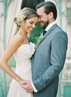 Gold Bridal Headpiece and a Groom in Gray | Peaches & Mint Photography | A Blooming Spring Wedding full of Lush Flowers in Peach and Fresh Green - http://heyweddinglady.com/blooming-spring-wedding-full-of-lush-flowers/