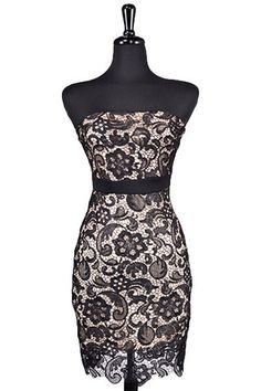 Christmas Party Option - Now & Forever Strapless Lace Dress - Black - $59.00   Daily Chic Dresses   International Shipping