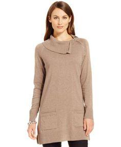 Jeanne Pierre Zipper-Trim Tunic Sweater