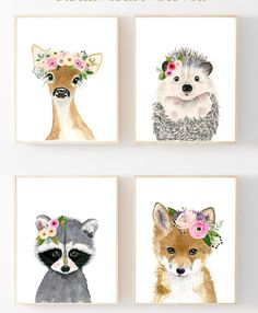 This animal art prints collection features a set of 4 prints from my flower crowned animals wall art. The collection includes portraits of a deer, raccoon, fox and hedgehog. If, however, youd like to swap any of them for a different piece in my shop, please give me a notice about which