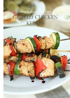 Brown Sugar Chili Lime Grilled Chicken and Vegetable Kebabs. Now I'm drooling...