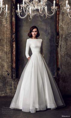 Long Sleeve Wedding, Wedding Dress Sleeves, Modest Wedding Dresses, Bridal Dresses, Wedding Gowns, Dresses With Sleeves, Long Sleeve Gown, Mikaella Bridal, Minimalist Wedding Dresses