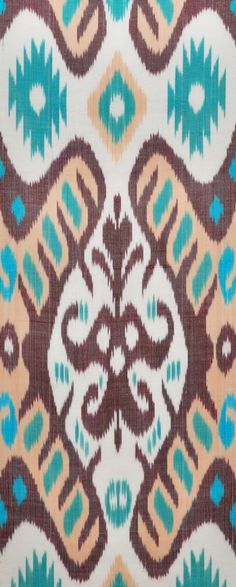 Ikat Fabric in aqua, brown and white.  (http://www.blackfigdesigns.com/)