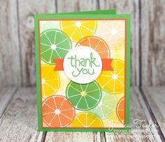 It's kind of funny that my favorite stamp set right now is called Apple of My Eye and I haven't used the apple stamp yet! My favorite stamps in the set are the citrus slice and the thank you. Here's another quick and easy citrus thank you card I made with them after stamping a full sheet of 8-1/2″x11″ paper and cutting it up using the May One Sheet Wonder Club template. Paper Sizes: Cucumber Crush card base: 5-1/2″ x 8-1/2″ scored at 4-1/4″ Citrus Stamped paper: 3-3/4″ x 5″ Tangerine Tango…