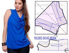 Faça a leitura da transformação do molde draped blouse pattern com rigor antes de iniciar qualquer outro processo. Imprima o molde base e faça a gradação...
