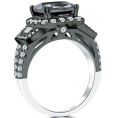 4.60 CT.Cushion Cut Black Diamond Engagement Ring 14k Black Gold Vintage Style