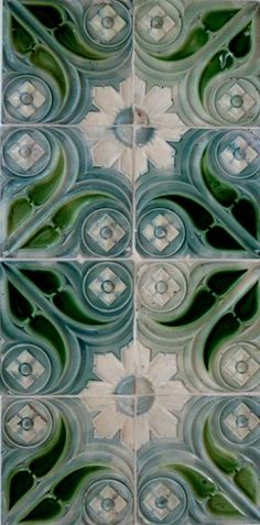 Art Nouveau Tiles, Portugal, photo CJMN. Azulejos Art Nouveau, Art Nouveau Tiles, Art Nouveau Design, Antique Tiles, Vintage Tile, Interior Design History, Artistic Tile, Traditional Tile, Decorative Tile