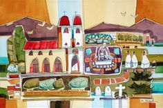 This site offers a gallery of watercolor paintings by Russell Black. California Missions, Watercolor Paintings, Homes, Gallery, Black, Art, Drawings, Art Background, Houses