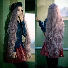 100CM Light Purple Cosplay Hair Wig Long Wavy Fashion Women Lolita Full Wigs New #FullWig