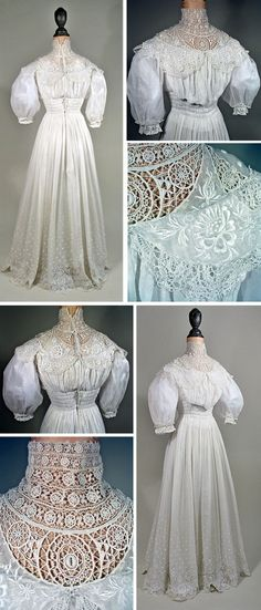 Day dress ca. 1905-06. White cotton with machine lace. Full skirt, smocking at waist, high collar, soft bodice, & elbow-length puffed sleeves. Cut without waist seam; fitting is by rows of ruching. Lower skirt has machine-embroidered white dots as well as lace. Interior bodice is white cotton; dress hooks in back. Past Perfect Vintage