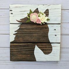This listing is for a custom foal sign. This sign is made from reclaimed wood. Size varies depending on the thickness of the wood but it is usually around Its stained brown and the horse can be painted white or the background painted white. Wooden Crafts, Felt Crafts, Crafts To Make, Arts And Crafts, Diy Crafts, Sola Wood Flowers, Felt Flowers, Fabric Flowers, Flower Colouring In