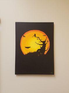 "KimberlyCArt - 12""x16"" acrylic painting - ""Halloween"""