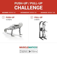 #WorkoutWednesday  Push-up / Pull-up challenge! We're featuring a fun new challenge every week with something for every fitness level. Tag a #workout buddy, complete the #exercises and let us know what you think! #FollowTheMovement #MuscleMatics #pushups #pullups #fitnessapp #fitness #bodybuilding