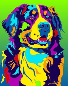 Multi-Color Bernese Mountain Dog Breed Matted Prints & Canvas Giclées #BerneseMountainDog