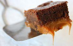Fudgy Caramel Brownies #recipe #chocolate