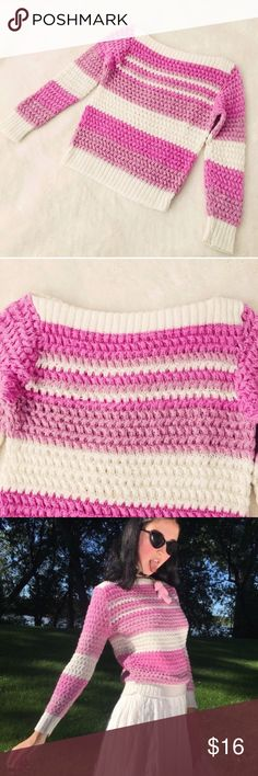 Vintage pastel pink stripe boatneck sweater xs/s Repop! 💕 I'm selling my vintage pastel striped sweater from internetgirl. Worn one time and still in perf condition, I just have so many sweaters! Thick knit material with plenty of stretch, cute af for all your crybaby looks! Has no tags but fits xs/s. Absolute gem #vintage #striped #sweater #pastel #baby #pink #repop Sweaters Crew & Scoop Necks